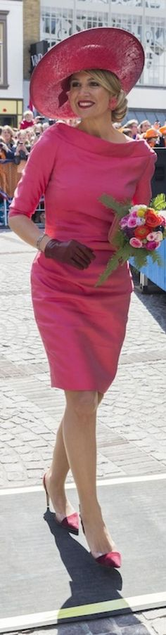 Queen Maxima wore Natan pink dress at 25th of Apr 2015