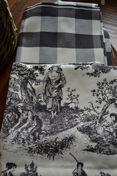 Buffalo check and toile .Curtain mash up. Toile Curtains, Gingham Curtains, French Country Kitchens, French Country Bedrooms, French Country Curtains, French Curtains, French Cottage, French Country House, White Cottage