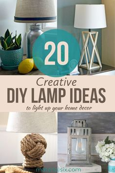 Browse 20 amazing ideas for DIY lamps you can create homemade. Creative DIY lamps & projects for bedrooms with various styles that you can make from waste materials. #diy #diyhomedecor #diylamps #bedroomdecor Diy Home Decor On A Budget, Decorating On A Budget, Homemade Lighting, Buy Lamps, Make A Lamp, Diy Ideas, Decor Ideas, Diy Pipe, Amazing Ideas
