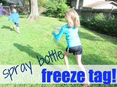 Fun Game for kids Spray Bottle freeze tag! Perfect for a hot summer day!  Find the rules here: http://blog.melissaanddoug.com/2012/06/11/camp-sunny-patch-session-2-spray-bottle-freeze-tag/