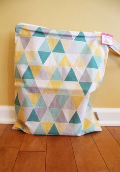 Wet bag wetbag geometric triangle mint zipper by PETUNIAS on Etsy, $34.00