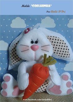 I Love Craft: Rabbit with mold Diy Crafts For Gifts, Crafts To Make And Sell, Diy Craft Projects, Felt Crafts, Easter Crafts, Crafts For Kids, Quilling Patterns, Felt Patterns, Elephant Applique