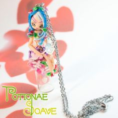 Nature fairy, decorated with original Swarovski crystals and three small hearts inside a tiny bottle. Necklace completely handmade, 100% Made in Italy.  Find it on www.Delicute.com
