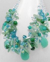 Jade Natural Stone & Crystal Glass Necklace
