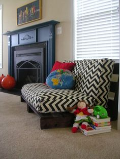 Make a mini sofa for kids from couch cushions! <>