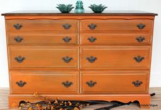 orange dresser - Now to figure out how to get the grey undertone...paint gray first then sand the finished product maybe?