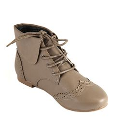 Love this Anna Shoes Taupe Classic Oxford Ankle Boot by Anna Shoes on #zulily! #zulilyfinds