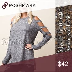 COMING SOON- CUT OUT COLD SLEEVE SUPER SOFT TOP 🇺🇸MADE IN USA - PREMIUM COLLECTION  *THIS LISTING IS FOR HEATHER GREY TOP. BURGUNDY COLOR NOT FOR SALE! Only to show back of top!   SUPER SOFT CUT SLEEVE COLD SHOULDER LONG SLEEVE TOP IS SO ON TREND IS A MUST HAVE!   VERY GOOD QUALITY, CASUAL SLIGHTLY FLOWY FIT AND LOOKS SO GOOD ON  50% RAYON 46% POLYESTER 4% SPANDEX  S(2-4) M(6-8) L(10-12)   PRICE IS ABSOLUTE FIRM. PLEASE KEEP IN MIND MADE IN USA CLOTHING COSTS AND POSH FEES. ESTIMATED…