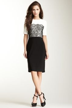 Love this dress from Hautelook!! -Suzi Chin 3/4 Length Sleeve Twofer Dress
