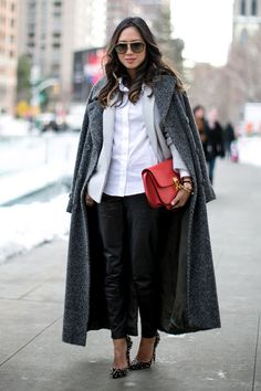 grey coat and leather pants