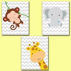 Printable Wall art Jungle Animals Set Giraffe Monkey Elephant Chevron Gray Nursery Room Decor 8x10 Digital JPEG File High Res 300dpi (52-54) via Etsy