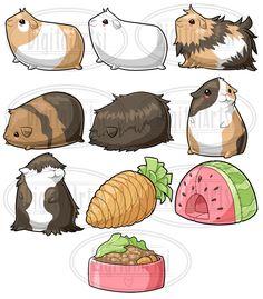 Kawaii Guinea Pig Graphics Set