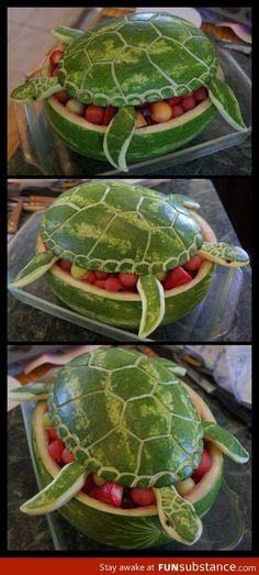 Amazing Watermelon Turtle Art!