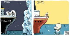 The Titanic nowadays ! / Le Titanic de nos jours ! Titanic Today, Titanic Funny, Rms Titanic, Climate Change Debate, Save The Arctic, Effects Of Global Warming, Then Vs Now, Greenhouse Effect, Greenhouse Plans