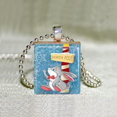 Scrabble Jewelry  Christmas Rabbit 7  by MaDGreenCreations on Etsy