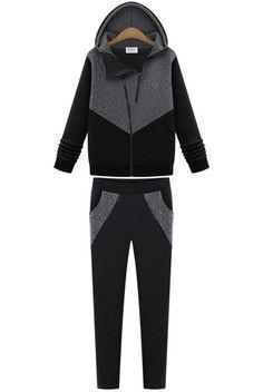 Kapuze-Sweatshirt Langarm mit Hose, schwarz 17.91
