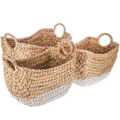 Natural Water Hyacinth Basket Set with White Bottoms