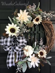 Excited to share this item from my shop: Fall Farmhouse Wreath Neutral Color Wreath Sunflower Autumn Wreaths, Holiday Wreaths, Fall Door Wreaths, Ribbon Wreaths, Country Wreaths, Floral Wreaths, Sunflower Wreaths, Burlap Wreaths, Wreath Fall