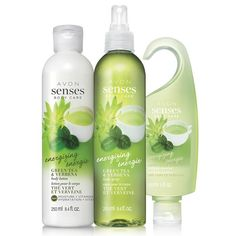 Avon Senses Green Tea & Verbena Collection Energizing and sparkling scents of delicate green tea bud and sweetly scented verbena blend perfectly with precious ginger to add a touch of spice to this invigorating, fresh fragrance. This moisturizing formula, with vitamins E and C, leaves skin cleansed and conditioned. A $24 value. Shop online with FREE shipping with any $40 online Avon purchase.  #Avon #CJTeam #Sale #Senses #BodyCare #GiftSet  Shop Avon online @ www.thecjteam.com