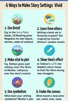 Infographic - story setting examples Now Novel. Writing Tips and Inspiration Book Writing Tips, Creative Writing Prompts, Writing Words, Fiction Writing, Writing Resources, Writing Help, Writing A Novel, Creative Writing Examples, Creative Writing Inspiration