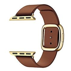 Amazon.com: Kartice for Apple Watch Band,Modern Buckle Genuine Leather Watch Band Strap Bracelet Wrist Band With Adapter Clasp Replacement for Apple Watch&Sport&Edition--38mm Brown strap Gold Buckle: Cell Phones & Accessories