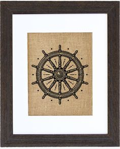 Captain's Wheel Framed Burlap Wall Decor