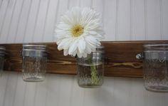Four Jar Wall Vase - Mason Jar Wall Storage - Cottage Home Decor. $22.00, via Etsy.