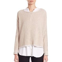 Eileen Fisher Linen & Cotton Cropped Top ($205) ❤ liked on Polyvore featuring tops, apparel & accessories, maple oat, cotton pullovers, linen tops, boxy top, long sleeve tops and eileen fisher