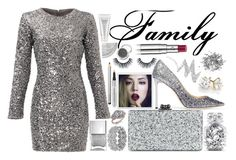 """""""silver"""" by paulapirez ❤ liked on Polyvore featuring Jimmy Choo, Slate & Willow, Edie Parker, Nails Inc., Charles & Colvard, Laura Mercier, Victoria's Secret, NYX, Chantecaille and Silver Lining"""
