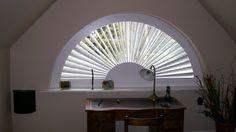 We create bespoke shutters to deal with unusual shaped windows. Shaped Windows, Window Shutters, Attic Rooms, Window Dressings, Bespoke, Art Deco, Rustic, Shapes, Create