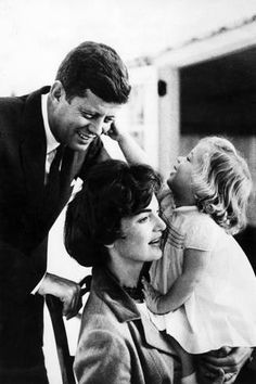 Photo: John and Wife Jackie Kennedy with their Daughter Caroline in USA in 1961 : 18x12in