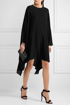 Valentino - Black silk-georgette Button-fastening keyhole at back  100% silk  Dry clean Made in Italy
