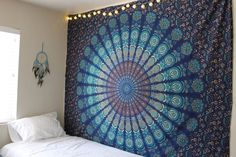 Indian Mandala Tapestry Hippie Wall Hanging Blue Bohemian Bedspread Dorm Decor #Unbranded