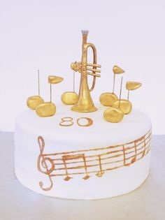 Trumpet cake Trumpet, Birthday Cake, Place Card Holders, Cakes, Desserts, Food, Deserts, Tailgate Desserts, Cake Makers