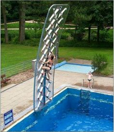 Rock climbing by pool. . .cool products and ideas
