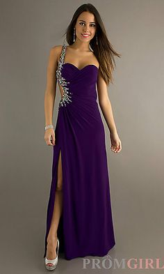 Sexy One Shoulder Prom Dress with Side Slit at PromGirl.com