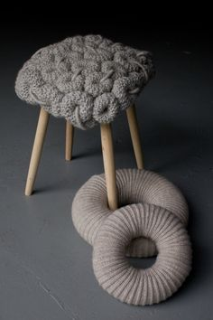 Claire-Anne O'Brien's knitted stools.