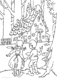 Hansel and gretel Coloring Pages Coloring Book Pages, Printable Coloring Pages, Coloring Pages For Kids, Coloring Sheets, Adult Coloring, Hansel Y Gretel Cuento, Fairy Tale Projects, Digi Stamps, Mandala Art