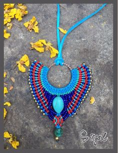 Micro macrame necklace tribal style