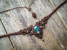 Micro macrame necklace Labradorite elven by creationsmariposa
