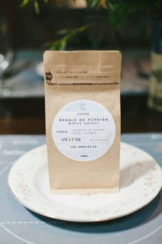 Bag of coffee for wedding favors: http://www.stylemepretty.com/2014/10/02/whimsical-brunch-wedding-in-downtown-los-angeles/ | Photography: Onelove Photography - http://www.onelove-photo.com/