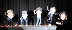 https://www.youtube.com/watch?v=FhvpZIGofCk&feature=youtu.be  One Direction Bobble Mash Up.  The Best Mash Up Ever!  Cute talent show idea for fans of any musical group.  Mix created with Garageband.  Hi Res images purchased online.  Foam board backing.  Spray glue.  Choreography - the kids.
