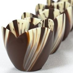 Beautiful for an elegant party or wedding; Must try to create them! Marbled Chocolate Tulip Cup - 3 Inch - 1 box, 30 count