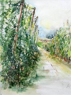 """Gertraud Wagner, """"Hopfengarten"""" Mit einem Klick auf 'Als Kunstkarte versenden' versenden Sie kostenlos dieses Werk Ihren Freunden und Bekannten."""