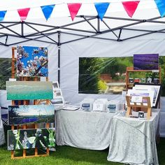 I'm home again and worn out! Lovely day in the sunshine at the Keep it Local craft fair in the gardens at Coolings today, here's my stall all set up.