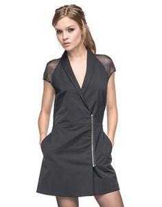 Andrew Marc Candice Chiffon Cap Sleeve Dress Women's Black 8
