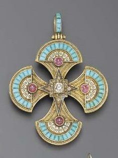 AN EGYPTIAN REVIVAL DIAMOND, RUBY, ENAMEL AND GOLD PENDANT, circa 1865.