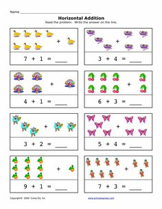 Horizontal Addition: FREE - 94 Addition Sums 1-10, Horizontal Worksheets