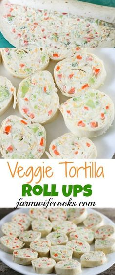 Apr 2019 - Veggie Tortilla Roll Ups have an irresistible ranch flavored cream cheese filling that make a great after school snack or appetizer. Snacks Für Party, Appetizers For Party, Appetizer Recipes, Snack Recipes, Veggie Appetizers, Kid Snacks, Lunch Snacks, Birthday Snacks, Clean Eating Snacks