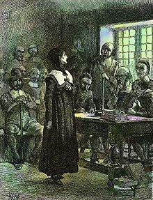 Anne Hutchinson, banned from the Massachusetts Colony in 1637 for having her own theological interpretations/